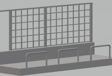 Boxenmauer mit Durchstieg 1:32